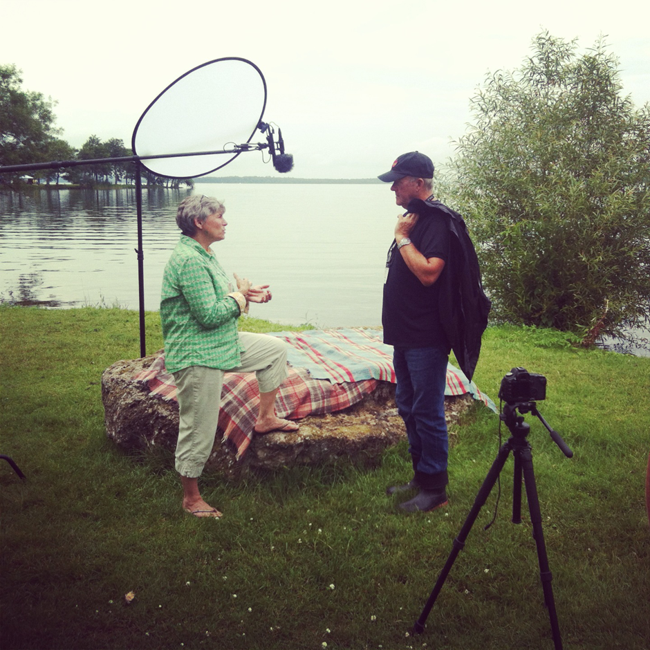 Canadian Who's Who editor in chief, Susan Charters, talks to Murray McLauchlan at the Mariposa Folk Festival in Orillia, Ontario